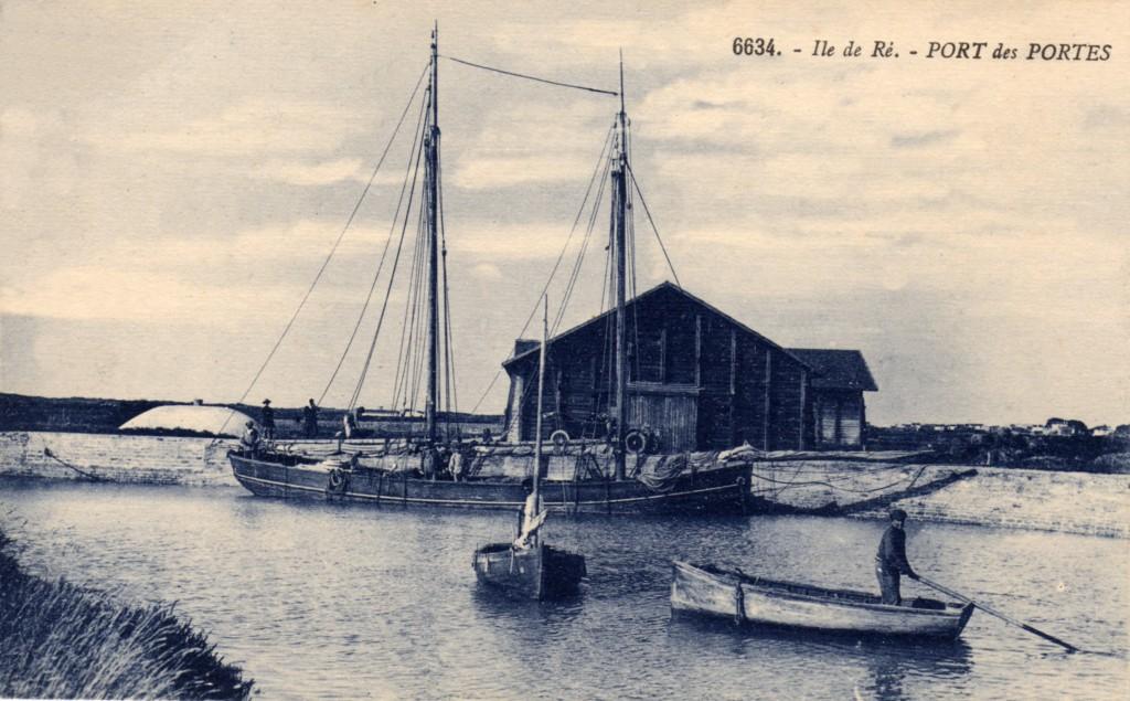 Vieux port des Portes en Ré et hangar à sel vers 1930